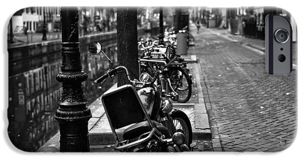 Canal Street Line iPhone Cases - Lines in Amsterdam mono iPhone Case by John Rizzuto