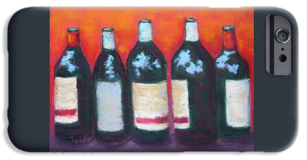 Wine Bottles Pastels iPhone Cases - Lineup iPhone Case by Nancy Jolley