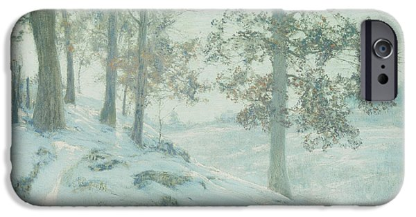 Winter Light Paintings iPhone Cases - Lingering Oak Leaves iPhone Case by Walter Launt Palmer