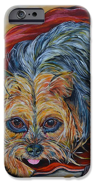 Dogs iPhone Cases - Lingo the Yorkie iPhone Case by Patti Schermerhorn