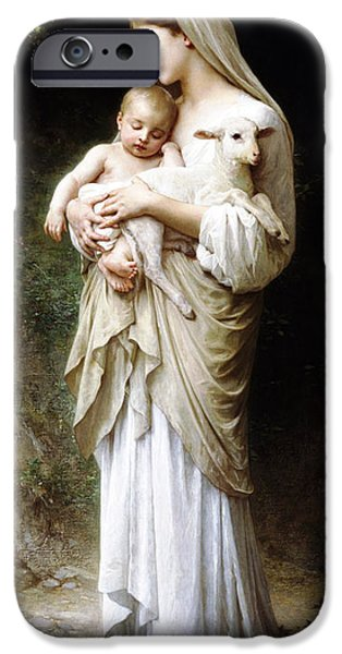 Innocence Mixed Media iPhone Cases - LInnocence by Bouguereau iPhone Case by Bouguereau