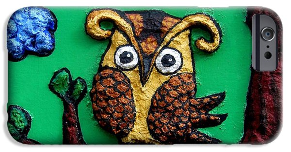 Yellow Beak Paintings iPhone Cases - Lint Owl Detail iPhone Case by Genevieve Esson