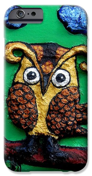 Mural Mixed Media iPhone Cases - Lint Owl Detail iPhone Case by Genevieve Esson