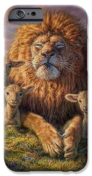 Fog Mist Mixed Media iPhone Cases - Lion and Lambs iPhone Case by Phil Jaeger