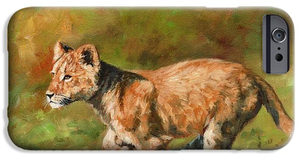 Lion Print iPhone Cases - Lion Cub Running iPhone Case by David Stribbling