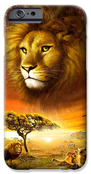 Authority iPhone Cases - Lion Dawn iPhone Case by Adrian Chesterman