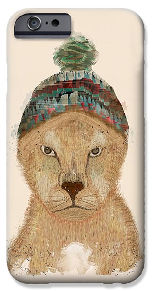 Lion Digital Art iPhone Cases - Lion Days iPhone Case by Bri Buckley