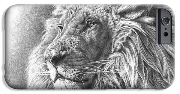 African Animal Drawings iPhone Cases - Lion Drawing iPhone Case by Heidi Vormer