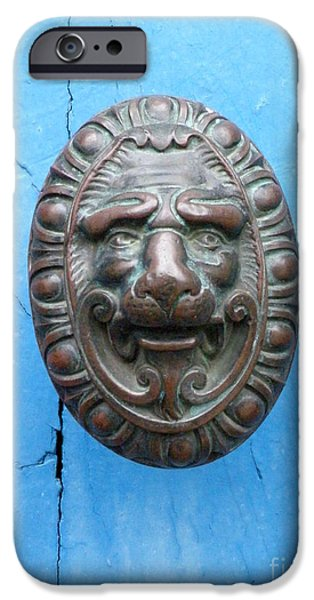 Lion Face Door Knob iPhone Case by Lainie Wrightson