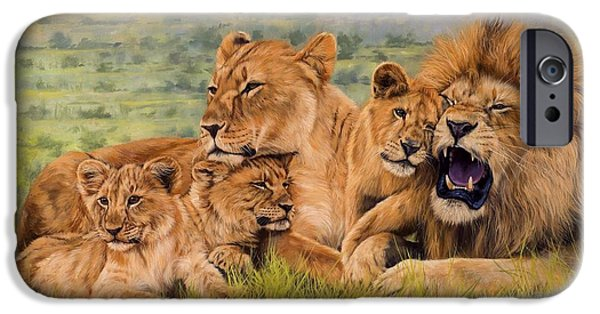 Lion Art iPhone Cases - Lion Family iPhone Case by David Stribbling