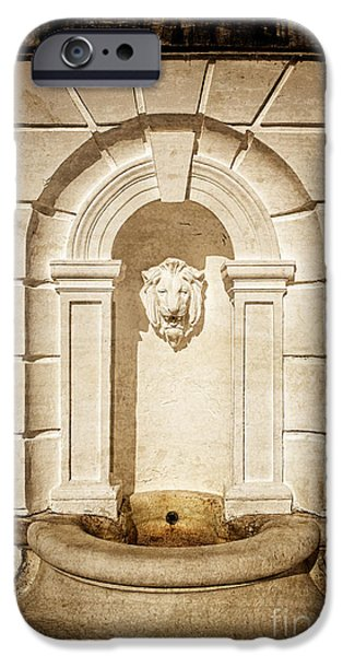Gild iPhone Cases - Lion Head Fountain The Mount Edith Warton Estate Lenox Ma iPhone Case by Edward Fielding
