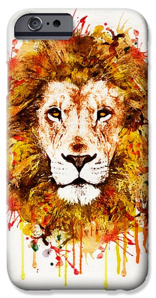 Marian iPhone Cases - Lion Head watercolor iPhone Case by Marian Voicu