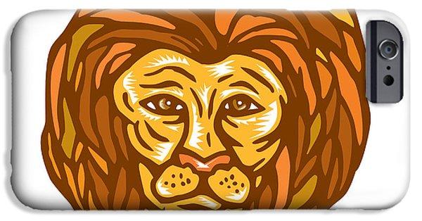 Linocut iPhone Cases - Lion Head Woodcut Linocut iPhone Case by Aloysius Patrimonio