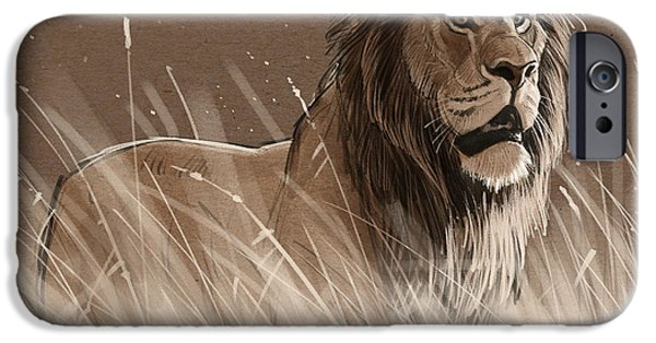 Lion iPhone Cases - Lion in the Grass iPhone Case by Aaron Blaise