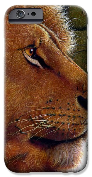 Lion Art iPhone Cases - Lion King iPhone Case by Jurek Zamoyski