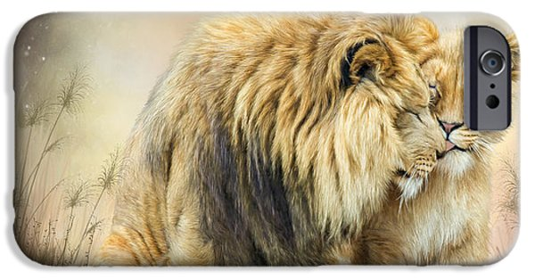 Lions Mixed Media iPhone Cases - Lion Kiss iPhone Case by Carol Cavalaris