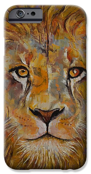 Michael Paintings iPhone Cases - Lion iPhone Case by Michael Creese