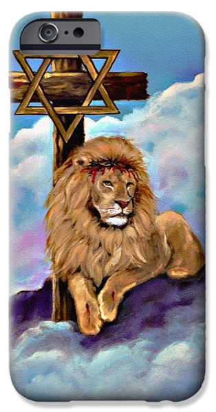Bobby iPhone Cases - Lion of Judah at the Cross iPhone Case by  Bob and Nadine Johnston