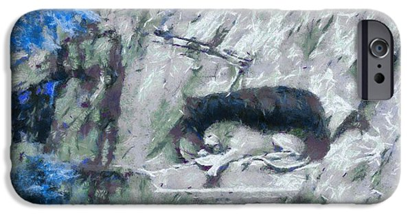 Swiss Mixed Media iPhone Cases - Lion Of Lucerne iPhone Case by Dan Sproul