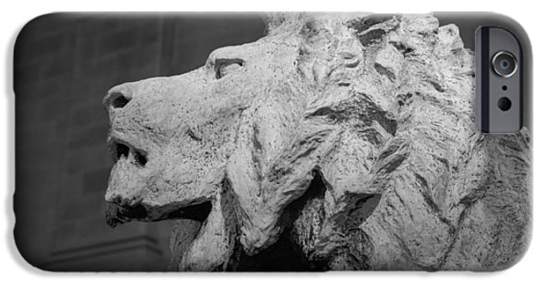 Recently Sold -  - Animals Photographs iPhone Cases - Lion of the Art Institute Chicago B W iPhone Case by Steve Gadomski