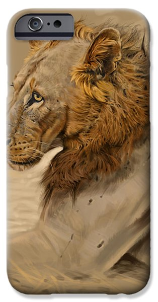 Lion Digital Art iPhone Cases - Lion Portrait iPhone Case by Aaron Blaise
