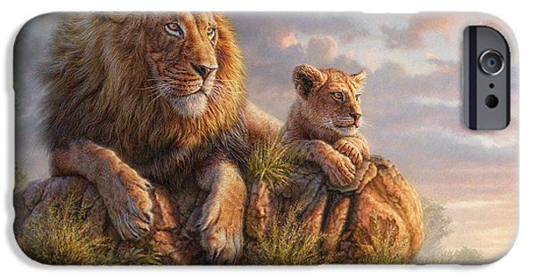 Fog Mist Mixed Media iPhone Cases - Lion Pride iPhone Case by Phil Jaeger