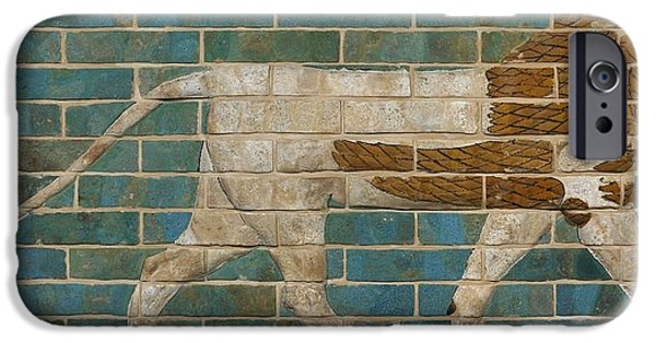 Babylon iPhone Cases - Lion Relief From The Processional Way In Babylon, C.605-562 Bc Glazed Brick iPhone Case by Babylonian