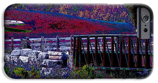 Electronic iPhone Cases - Lion River catchment picnic area photography conversion to digital painting Oakville Ontario Canada  iPhone Case by Navin Joshi
