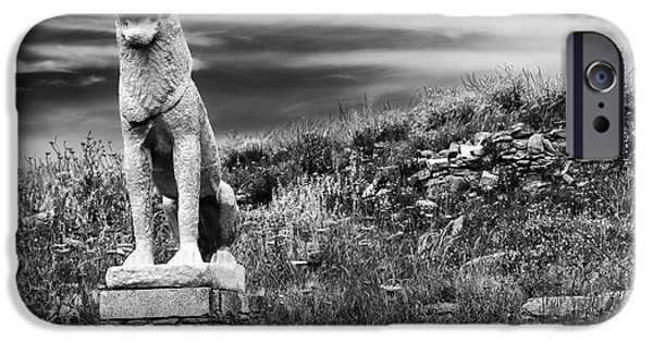 Delos iPhone Cases - Lion Ruins on Delos Island iPhone Case by John Rizzuto