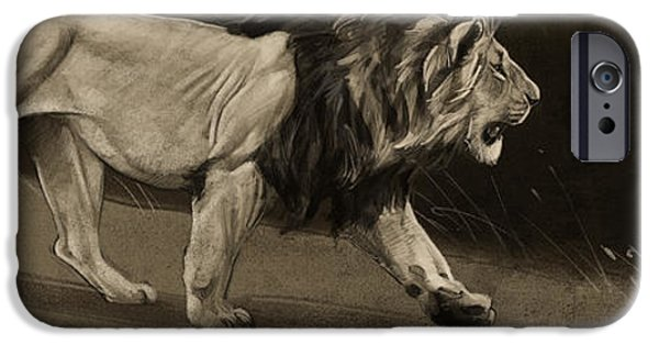 Digital Drawing iPhone Cases - Lion Sketch iPhone Case by Aaron Blaise
