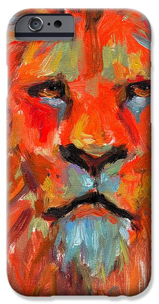 Lion Print iPhone Cases - Lion iPhone Case by Svetlana Novikova