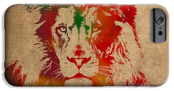 Lions Mixed Media iPhone Cases - Lion Watercolor Portrait on Old Canvas iPhone Case by Design Turnpike