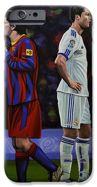 Stadiums Paintings iPhone Cases - Lionel Messi and Cristiano Ronaldo iPhone Case by Paul  Meijering