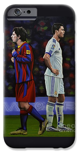 Idol Paintings iPhone Cases - Lionel Messi and Cristiano Ronaldo iPhone Case by Paul Meijering