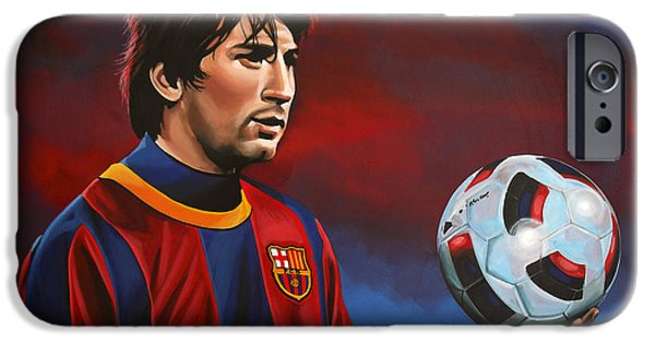 Idol Paintings iPhone Cases - Lionel Messi  iPhone Case by Paul Meijering
