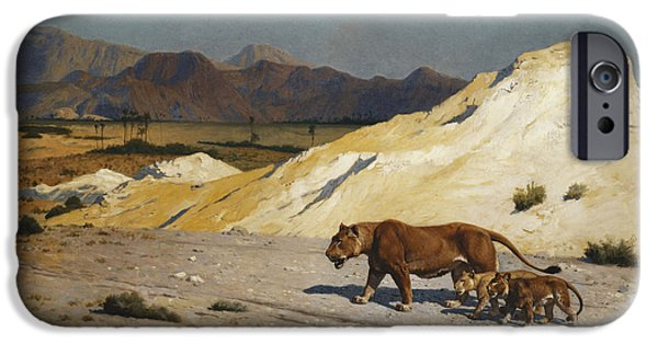 Gerome iPhone Cases - Lioness and Cubs iPhone Case by Jean Leon Gerome
