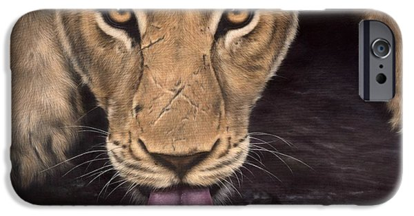 African Lion Art iPhone Cases - Lioness Painting iPhone Case by Rachel Stribbling
