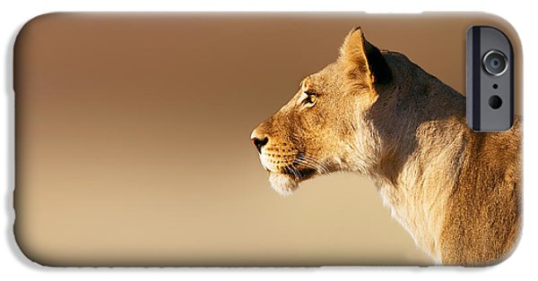 Leo iPhone Cases - Lioness portrait iPhone Case by Johan Swanepoel