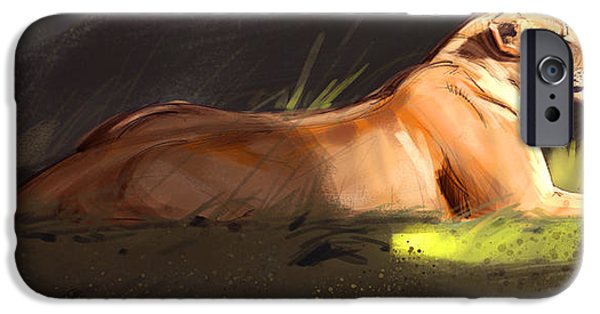 Lioness iPhone Cases - Lioness Sketch iPhone Case by Aaron Blaise
