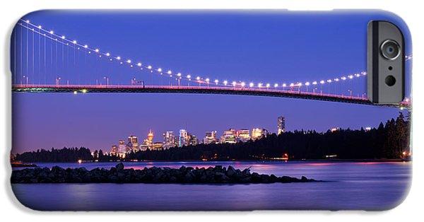 Burrard Inlet iPhone Cases - Lions Gate Bridge At Dusk 3 iPhone Case by Terry Elniski