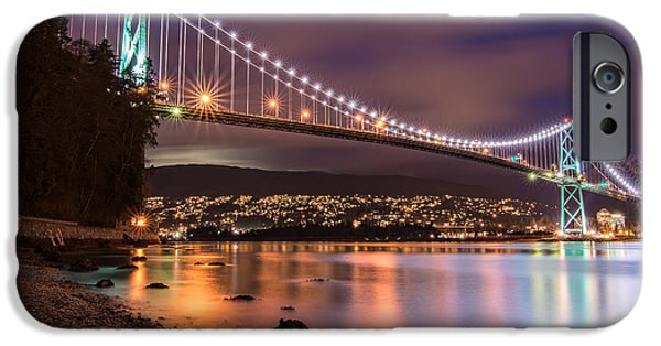 Burrard Inlet iPhone Cases - Lions Gate Bridge at Night iPhone Case by James Wheeler
