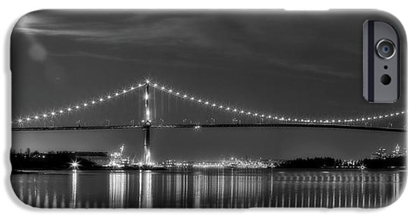 Stanley Park iPhone Cases - Lions Gate Bridge Black and White iPhone Case by Naman Imagery