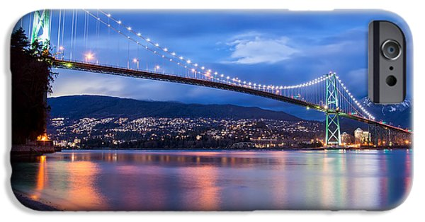 Burrard Inlet iPhone Cases - Lions Gate Bridge Just After Sunset iPhone Case by James Wheeler