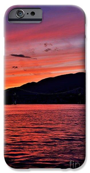 Burrard Inlet iPhone Cases - Lions Gate Bridge Sunset iPhone Case by Terry Elniski