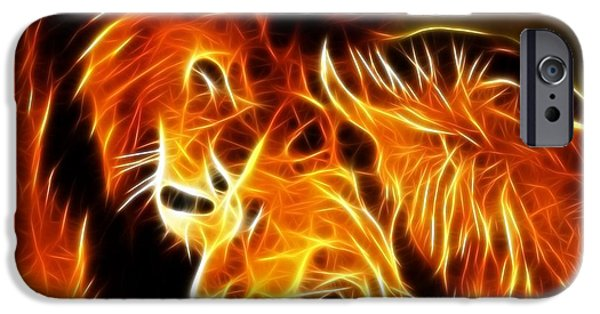 Lions Mixed Media iPhone Cases - Lions in Love iPhone Case by Pamela Johnson