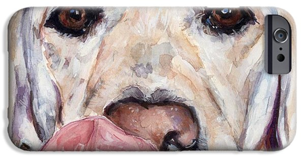Dog Head iPhone Cases - Lip Smacker iPhone Case by Molly Poole