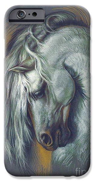 Horses Digital Art iPhone Cases - Lipizzan Horse iPhone Case by Zorina Baldescu