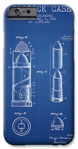 Lipstick iPhone Cases - Lipstick Case patent from 1952 - Blueprint iPhone Case by Aged Pixel