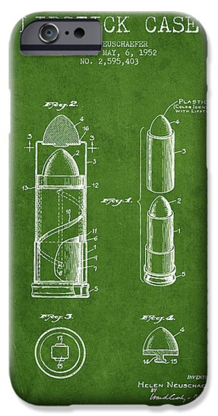 Lipstick iPhone Cases - Lipstick Case patent from 1952 - Green iPhone Case by Aged Pixel