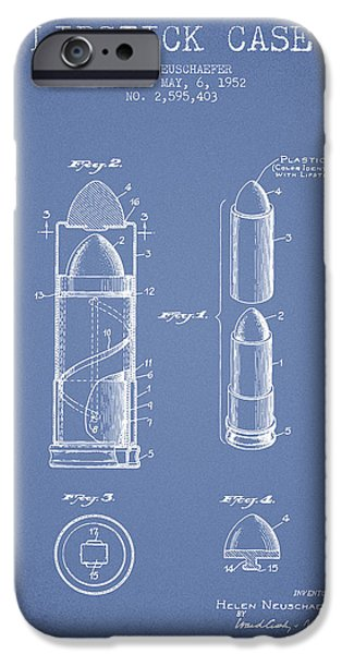 Lipstick iPhone Cases - Lipstick Case patent from 1952 - Light Blue iPhone Case by Aged Pixel